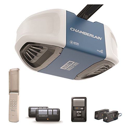 Garage Door Opener System (Chamberlain B730 Ultra-Quiet and Strong Belt Drive Garage Door Opener with Battery Backup and Plus Lifting Power, Blue)