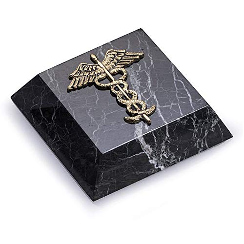 (KensingtonRow Home Collection Paperweights - Medical Caduceus Marble Paperweight - Gifts for Doctors - Medical)