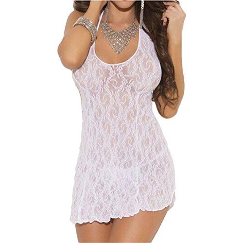 SKY ¡Nuevo! Lingerie Mujeres Lace Halter Mini Dress Halter del vestido del cordón de las señoras atractivas del club nocturno Blanco