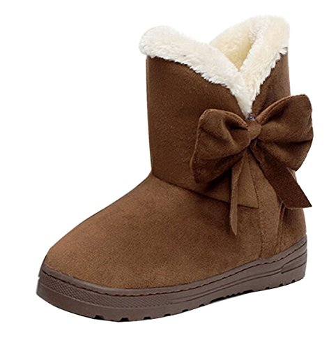 Maybest Women's Winter Classic Faux Fur Snow Ankle Boots Mid-calf Bowknot Flat Shoes ( Coffee 9 B (M) US (Dolly Ankle Boot)