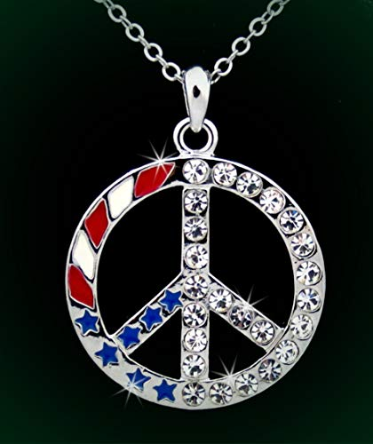 Red White Blue USA Flag Peace Sign Austrian Crystal Pendant Rhinestone Necklace Set for Women Item!