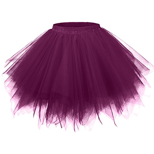 Girstunm Women's 1950s Vintage Petticoats Bubble Tutu Dance Half Slip Skirt Grape 2XL -