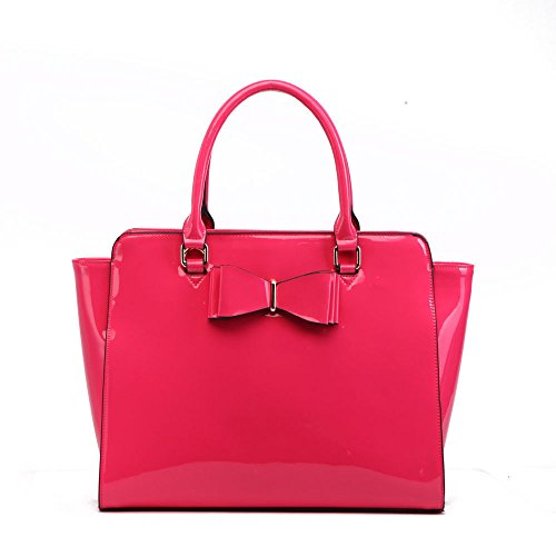 Leather Faux Bags medium Handbags Shoulder Grab pink Tote 32 Women's With Bow LeahWard RaF5SwqET