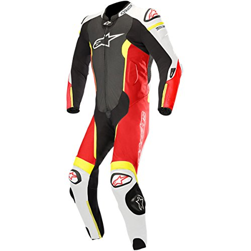 (Alpinestars Missile Leather One-Piece Suit (Tech Air Compatible) (50) (BLACK/WHITE/RED FLUO/YELLOW FLUO))
