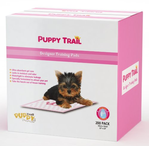 Best Puppy Pads - Pink - Very Absorbent Core - Puppy Training Pads Designer Pads - for Puppies & Dogs - Hearts & Crowns Design - 200 -