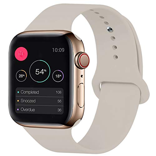 KOUUNN Sport Band Compatible for Apple Watch 38mm 40mm, Soft Silicone Sport Strap Replacement Band Compatible for Apple Watch Series 5, 4, 3, 2, 1 (38mm 40mm, S/M, Stone)