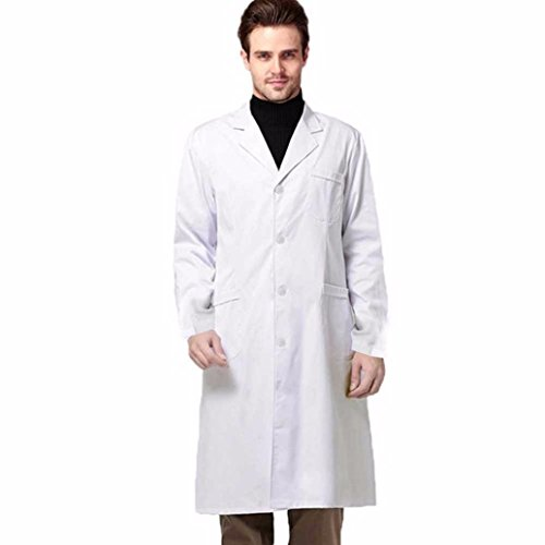 Lab Bust (Professional Unisex Lab Coat ,Mokao Spring And Autumn Men White Coat Thickcotton Beauty Salon Laboratory Long Coat (All Size, White))
