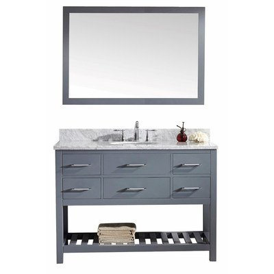 Virtu USA MS-2248-WMRO-GR Transitional 48-Inch Single Sink Bathroom Vanity Set, Grey 48 Transitional Bathroom Vanity