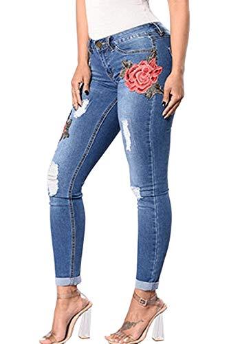 Bordado Pantalones Bolsillos Estiramiento Lápiz Stretch Slim Mezclilla Blau Con Elástico Alta Fit Cintura De Vaqueros Huixin pCwIqagw