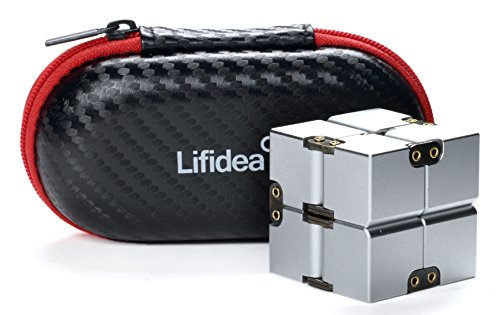 Lifidea Aluminum Alloy Metal Infinity Cube Fidget Cube (5 Colors) Handheld Fidget Toy Desk Toy with Cool Case Infinity Magic Cube Relieve Stress Anxiety ADHD OCD for Kids and Adults (Silver) by Lifidea