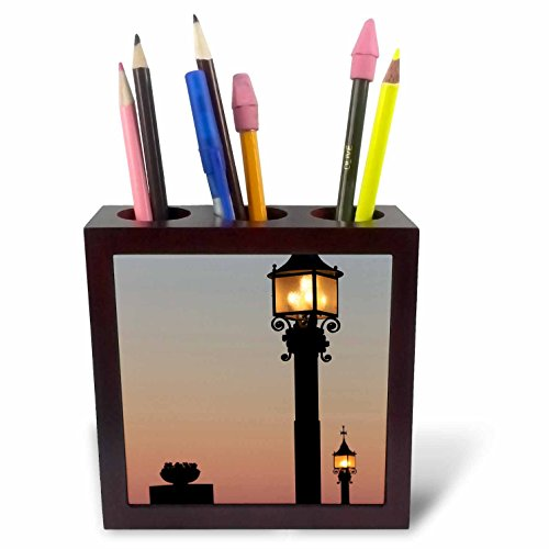 3dRose Danita Delimont - Lamps - Lanterns alight at sunset at Montserrat, Barcelona, Spain - 5 inch tile pen holder (ph_257871_1) by 3dRose