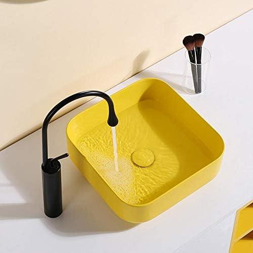 洗面ボール 現代陶磁器の上カウンター盆地ホテルアート盆地イエロー浴室船舶洗面化粧台シンクの洗面化粧台のキャビネット現代のスタイル 洗面器 (Color : Yellow, Size : 39.5x39.5x14cm)
