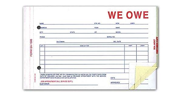 Quantity 100 SA-1506-3 Generic 3-Part Forms We Owe Forms