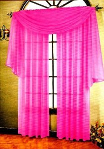 3 Piece Pink Sheer Voile Curtain Panel Set: 2 Pink Panels an