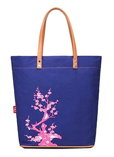 Fortuning's JDS® Bolso de hombro bolso de mano a mano de la lona de algodón estampado floral retro azul