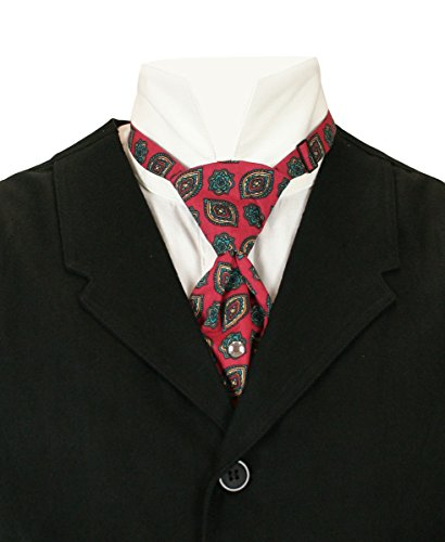 Historical Emporium Men's Cotton Teck Tie Burgundy Print]()