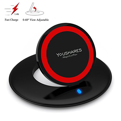 YOUSHARES Fast Charge Wireless Charger Pad for Samsung Galaxy S8, S7, S7 Edge, S6 Edge Plus, Note 5 (Magic Eye)