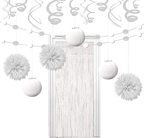 Party City Super White Decorating Kit, Includes Doorway Curtain, Pom Poms, Paper Lanterns and More ()