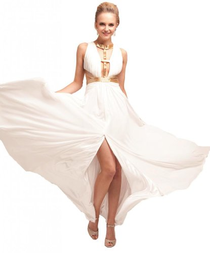 Meier Women's Ivory Sequin Cut Out High Slit Prom Evening Formal Dress-8