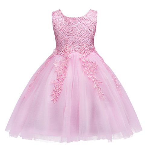 (IBTOM CASTLE Baby Princess Bowknot Wedding Pageant Communion Baptism Party Flower Girl Dress Pink 4-5)