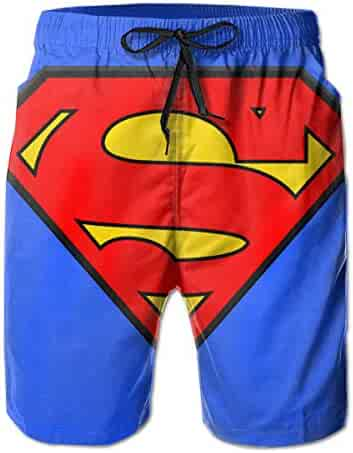 9f356890f8f56 Superman Logo Mens Swim Trunks Summer Quick Dry Board Shorts with Mesh  Lining/Side Pockets