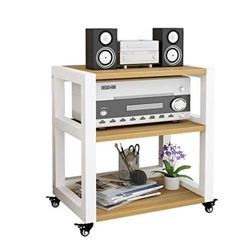 CHAOYANG 3-Layer Power Amplifier Rack Audio Equipment CD Cabinet with Mobile Universal Pulley -584566cm.
