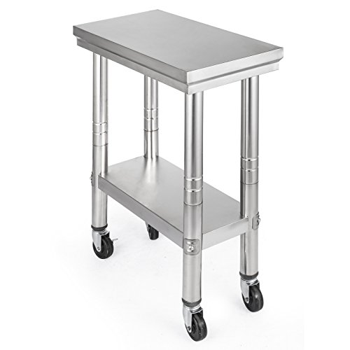 Mophorn NSF Stainless Steel Work Table With Wheels X Prep Table - Stainless steel work table with casters