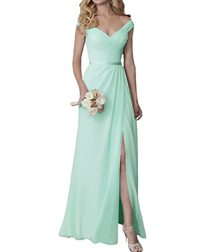 Yilis Elegant V-Neck Chiffon Slit Long Bridesmaid Dress Wedding Evening Dress Mint Green US2
