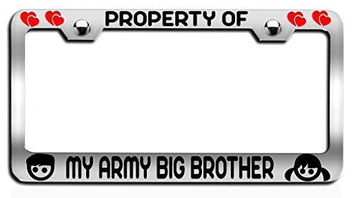 Makoroni - PROPERTY OF MY ARMY BIG BROTHER Brother Ch Steel License Plate Frame, License Tag Holder (Canada Brothers Property)