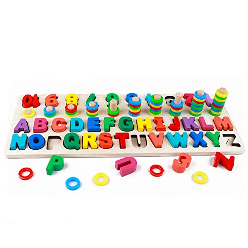 RUIDELI Wooden Blocks Puzzle Board Set Alphabet ABC,