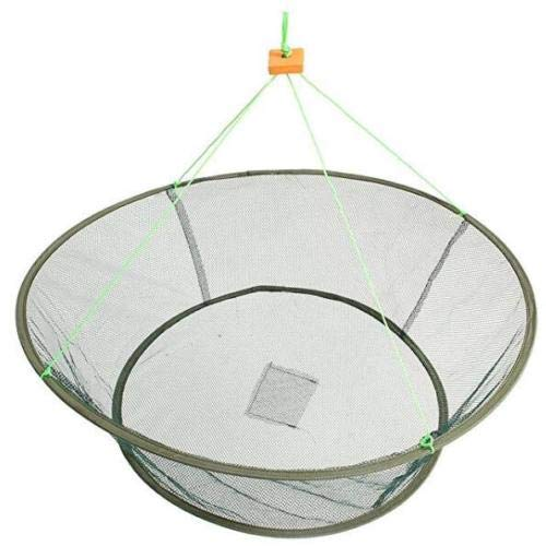 EatingBiting(R) Portable Prawn Bait Crab Shrimp Net Drop Landing Fishing Pier Harbour Pond 31.5FT Folding Fishes Net Perfect for Keeping Fishes Minnows Crab Lobsters