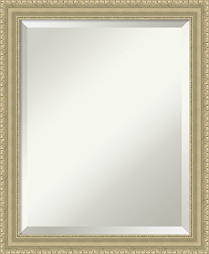 (Framed Mirrors for Wall | Champagne Teardrop Mirror for Wall | Solid Wood Wall Mirrors | Small Wall Mirror 19.00 x 23.00