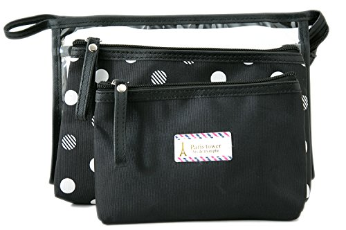 3 Piece Makeup (Zhoma 3 Piece Waterproof Cosmetic Bag Set - Makeup Bags And Travel Case - Black)