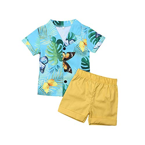 Summer Toddler Baby Boys Clothes Short Sleeve Hawaii Top Shirt Solid Shorts Outfits Set (18-24 Months,Blue+Yellow)