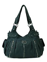 Scarleton 3 Front Zipper Washed Shoulder Bag H1292