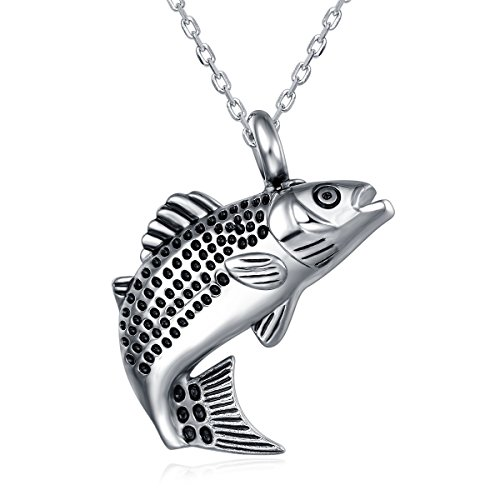 UNY Stainless Steel Memorial Pets Ashes Keepsake Pendant Unique Fish Shape urn Cremation Pendant