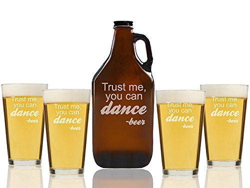 Chloe and Madison ''Trust me you Can Dance Beer'' Amber Growler & pint Glasses, Set of 5
