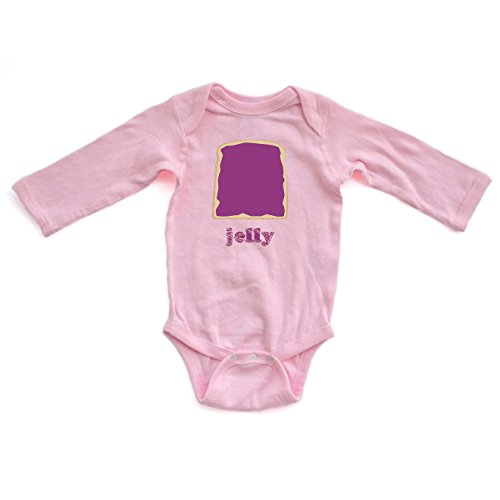 Cute Twins or Halloween Baby Long Sleeve Bodysuit Jelly (Goes With Peanut Butter)