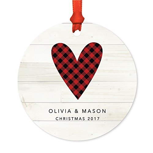 ized Family Christmas Ornament, Metal, Red Plaid Heart Olivia & Mason Christmas 2018, 1-Pack, Custom Letter Name, Includes Ribbon and Gift Bag ()