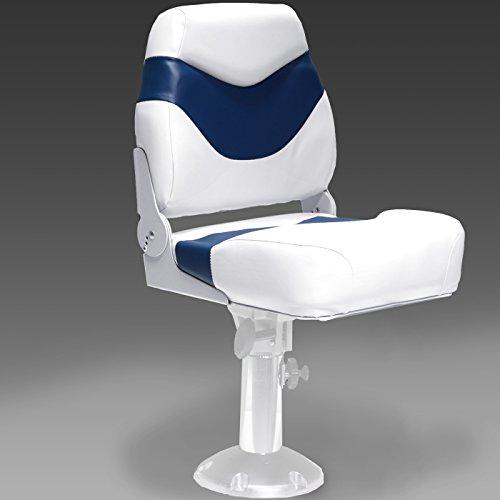 DeckMate Plush Folding Boat Seats (White & Blue) (Pontoon Premium Furniture)