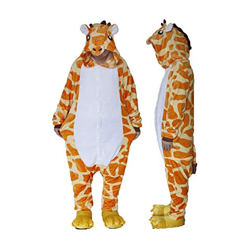Unisex Cosplay Animal Cartoon Sleepwear Giraffe One-Piece Pajamas (Yellow-M)