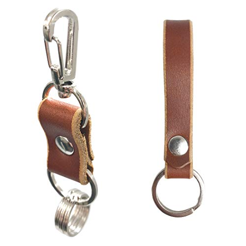 Leather Keychain – Handmade In the USA, Valet Key, Leather Key Fob, Quick Release Carabiner Swivel Clasps (Tan) ()