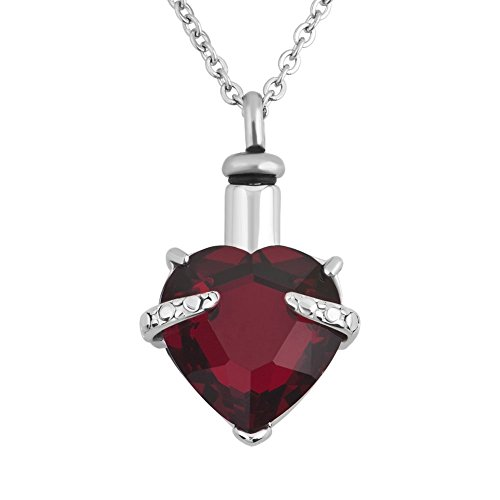 Lantern Low LuckyJewelry Heart Cremation URN Necklace for Ashes Jewelry Memorial Keepsake Pendant