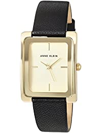 Women's AK/2706CHBK Gold-Tone and Black Leather Strap Watch