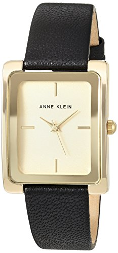 Anne Klein Women's AK/2706CHBK Gold-Tone and Black Leather Strap Watch ()