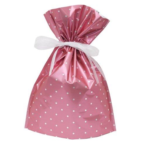 Gift Mate 21067-4 4-Piece Drawstring Gift Bags, Large, Pink Polka Dot