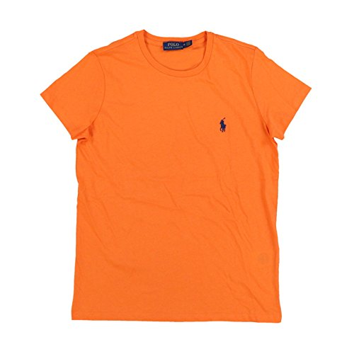 Polo Ralph Lauren Womens Crew Neck Jersey T-Shirt (S, Orange - Blue Pony)