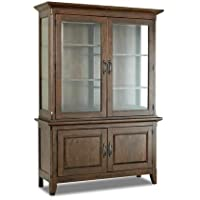 Klaussner Carturra 84589BH 56 China Cabinet with 4 Doors Shelves Serpentine Antique Bronze Pulls Solid Mango and Rubber Wood Construction in Rich Chocolate