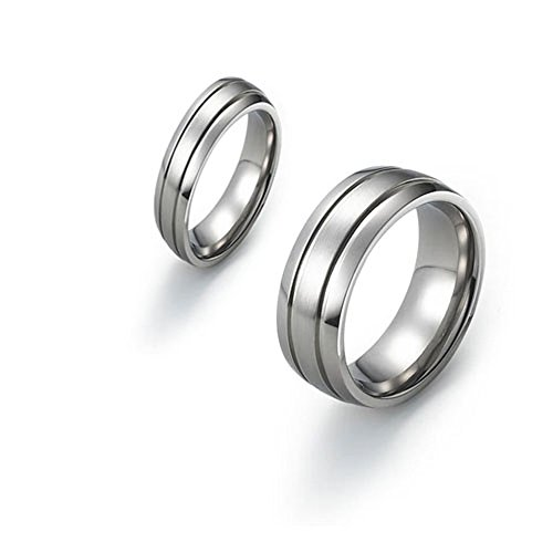 6mm&8mm Matching Titanium Wedding Bands Brushed Center Polished Grooves & Sides SZ 6-12 Free Engraving