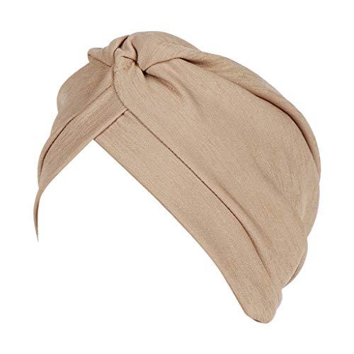 (Dressin Muslim Caps Women's Elegant Stretch Flower Solid Color Turban Chemo Cancer Cap Hat)